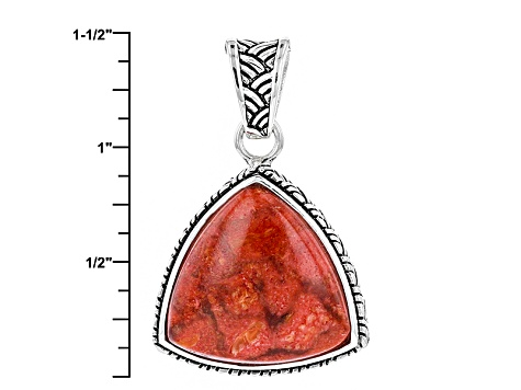 Red Sponge Coral Sterling Silver Pendant With Chain