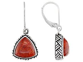 Red Sponge Coral Sterling Silver Dangle Earrings