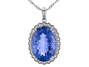Blue Color Change Fluorite Rhodium Over Sterling Silver Pendant With Chain 22.74ctw