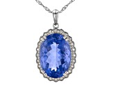 Blue Color Change Fluorite Sterling Silver Pendant With Chain 22.74ctw