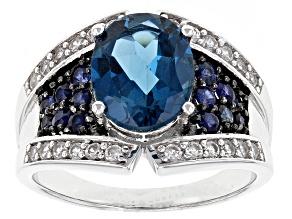 London Blue Topaz Sterling Silver Ring 3.45ctw