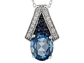 London Blue Topaz Sterling Silver Pendant With Chain 2.96ctw
