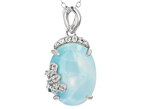 Blue Larimar Sterling Silver Pendant With Chain .17ctw