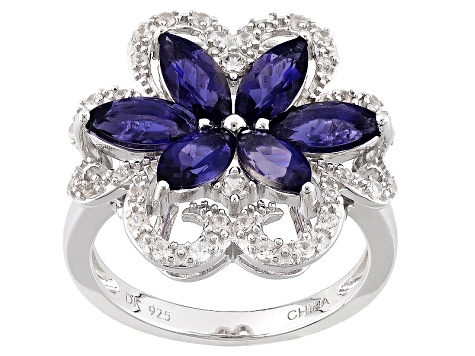 Blue Iolite Sterling Silver Floral Ring 1.94ctw