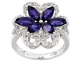 Purple Iolite Sterling Silver Floral Ring 1.94ctw