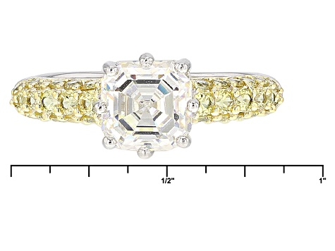 White Fabulite Strontium Titanate And Yellow Sapphire Sterling Silver Ring 3.33ctw