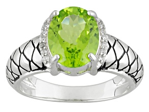 Green Peridot And White Zircon Sterling Silver Ring 2.35ctw