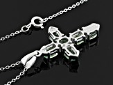 Green Amblygonite Sterling Silver Cross Pendant With Chain 2.04ctw