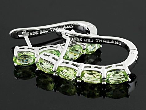 Green Brazilian Amblygonite Sterling Silver Hoop Earrings 2.72ctw