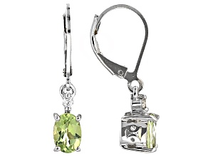 Green Amblygonite Sterling Silver Leverback Earrings 1.37ctw