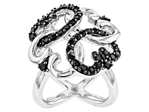 Black Spinel Sterling Silver Ring 1.02ctw