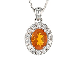 Orange Mexican Fire Opal Sterling Silver Pendant With Chain 1.38ctw