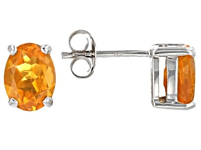Orange Mexican Fire Opal Sterling Silver Stud Earrings 1.36ctw