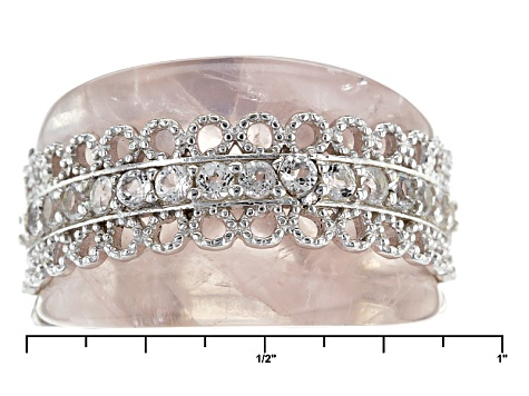 Pink Brazilian Rose Quartz Sterling Silver Band Ring .61ctw