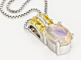 Ethiopian Opal Sterling Silver Pendant With Chain .99ctw