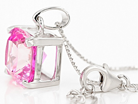 Pink Lab Created Sapphire Sterling Silver Pendant With Chain 8.71ct