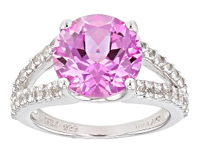 Pink Lab Created Sapphire Sterling Silver Ring 4.41ctw