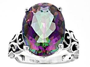 Multicolor Quartz Sterling Silver Solitaire Ring 8.94ctw