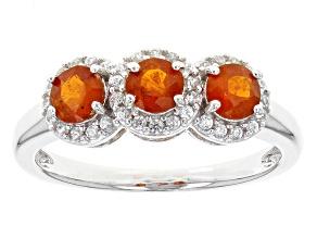 Orange Kyanite And White Zircon Sterling Silver Ring 1.03ctw