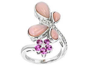 Pink Peruvian Opal Sterling Silver Ring .77ctw