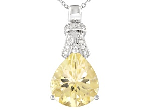 Yellow Labradorite Rhodium Over Sterling Silver Pendant With Chain 4.91ctw