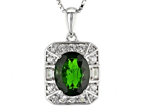 Green Chrome Diopside Sterling Silver Pendant With Chain 2.68ctw