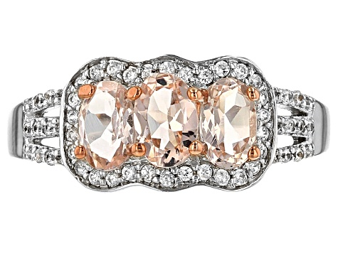 Pink Morganite Rhodium Over Sterling Silver Ring 1.24ctw