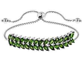 Green Chrome Diopside Sterling Silver Bolo Bracelet 5.10ctw