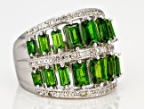 Green Russian chrome diopside sterling silver band ring 3.51ctw