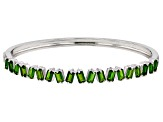 Green Russian chrome diopside sterling silver bangle bracelet 5.05ctw