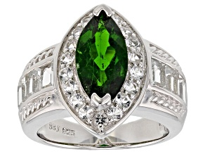 Green chrome diopside sterling silver ring 4.09ctw
