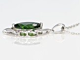 Green chrome diopside sterling silver pendant with chain 2.71ctw