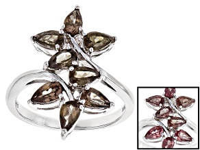 Green color change garnet sterling silver ring 1.56ctw