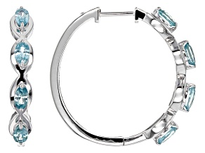 Blue Zircon Sterling Silver Earrings 2.58ctw