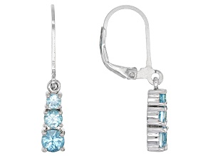 Blue Zircon Sterling Silver Earrings 1.52ctw