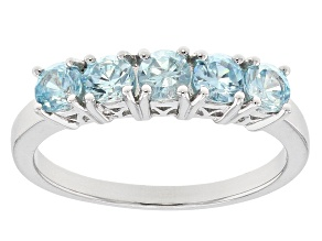 Blue Zircon Sterling Silver Ring 0.97ctw
