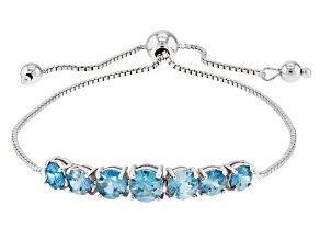 Blue Zircon Sterling Silver Bolo Bracelet 3 57ctw