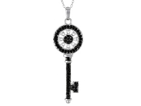 Black Spinel Sterling Silver Key Pendant With Chain .52ctw