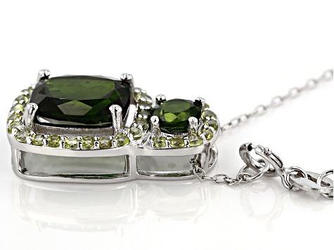 Green chrome diopside silver pendant with chain 3.89ctw
