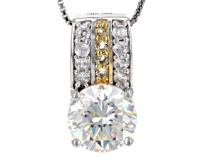 White Fabulite Strontium Titanate With White Zircon And Citrine silver pendant with chain 4.67ctw