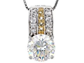 White Fabulite Strontium Titanate With White Zircon And Citrine silver pendant with chain 4.67ctw