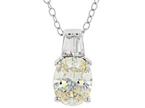 White Fabulite Strontium Titanate And White Zircon Sterling Silver Pendant With Chain 2.63ctw