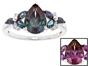 Blue lab created alexandrite sterling silver ring 2.48ctw
