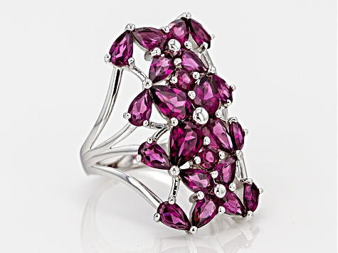 Raspberry Color Sterling Silver Ring 5.73ctw
