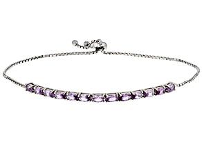 Purple lab created sapphire silver bolo bracelet 2.47ctw