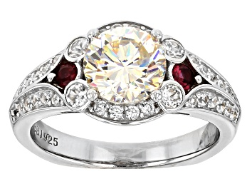 Picture of Fabulite Strontium Titanate, Red Spinel And White Zircon sterling silver ring 3.02ctw