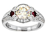 Fabulite Strontium Titanate, Red Spinel And White Zircon sterling silver ring 3.02ctw