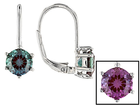 Blue Lab Created Alexandrite Sterling Silver Drop Earrings 1.68ctw