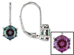 Blue Lab Created Alexandrite Sterling Silver Drop Earrings 1.68ctw