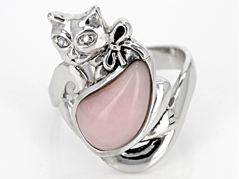 Pink Peruvian Opal Sterling Silver Cat Ring .02ctw